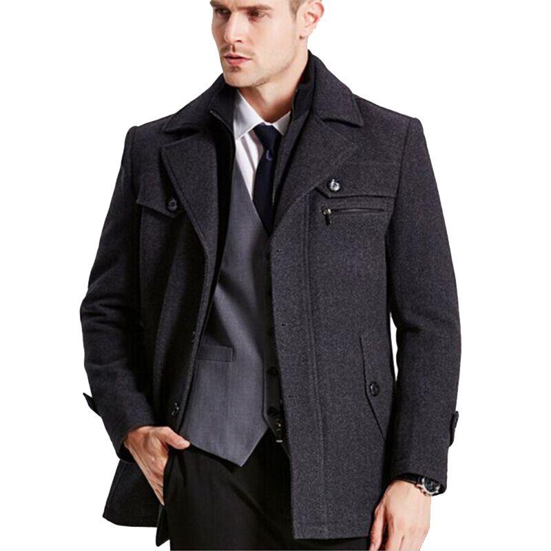 94a059ea94c New mens winter wool Coat Men Slim Fit Fashion Jackets Mens Casual Warm  Outerwear Jacket Overcoat Pea Coat Plus Size XXXL 4XL
