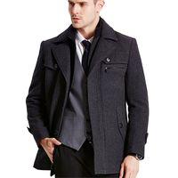 New Winter Wool Coat Men Slim Fit Fashion Jackets Mens Casual Warm Outerwear Jacket Overcoat Pea