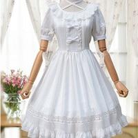 Doce Bonito Lolita Vestido Roupas Femininas Sólidos Arco Preto Branco em torno Do Pescoço Manga Curta Cintura Império Mori Menina Vestido de Princesa U324
