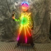 P75 Colorful led light costumes robot men suit luminous lighted jacket bar led dress clothe disco coat glowing outfits glasses