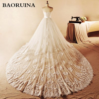 Cheap Real Pictures Scoop Neck Beading Lace Ruffle Organza Long Wedding Dress Bridal Gown Detachable tail