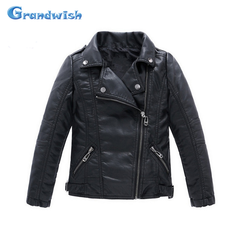 Grandwish Children PU Leather Jacket Boys Autumn Leather Coat Girls Spring Jacket Children Solid Casual Outerwear 3T-14T , SC552