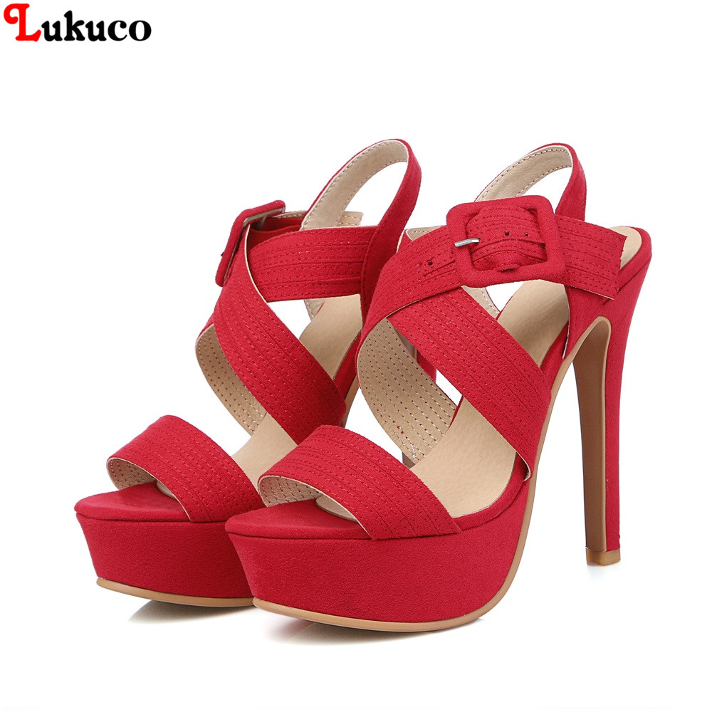 ФОТО NEW Popular high quality Flock sandals Size 43 44 45 46 47 48 Peep Toe cross straps fashion lady pumps free shipping