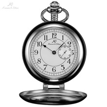 KS Vintage Esfera Blanca Retro Auto-soporte Negro Caso de Japón movimiento de Cuarzo Masculino Collar Colgante de Hombres Reloj Reloj de Bolsillo/KSP060