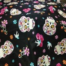 Punk Cool Halloween flor cráneo impreso tela de algodón para costura DIY ropa de cama acolchado vendaje