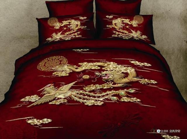 3d Red Dragon Phoenix Comforter Bedding Set Queen Size