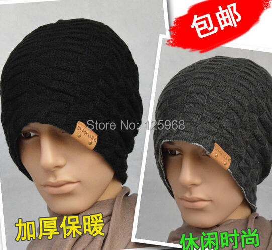 Free Shipping!2014 New Men Knit Beanie Reversible Baggy Cap Skull Chunky Winter Hat Fashion Warm Caps