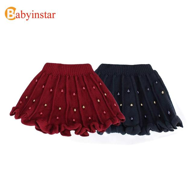 New Arrival Girl Skirt Spring Autumn Winter Knitting Skirt With Beading Kids Girls Skirt 2016 Fashion Kids Girls Tutu Skirts
