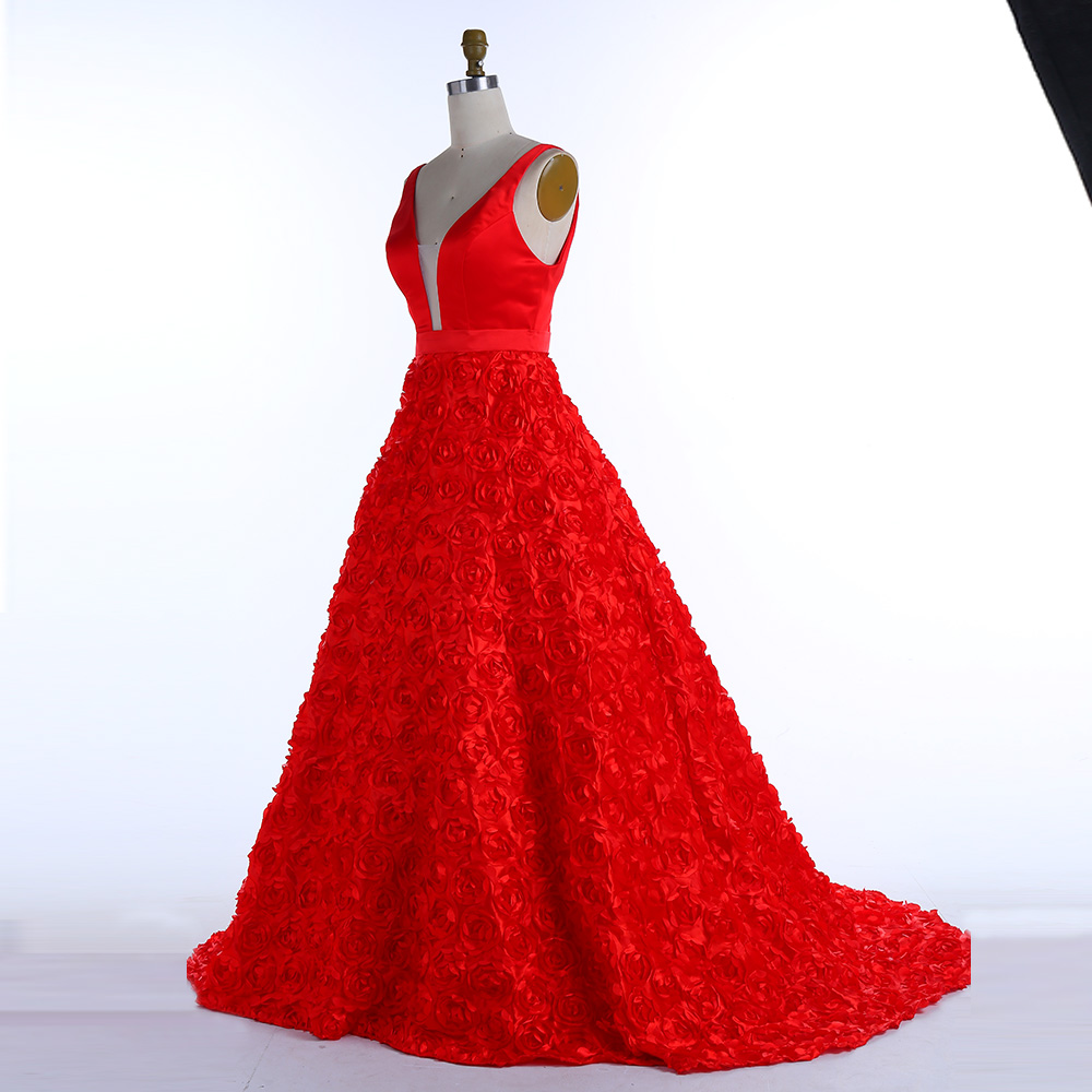BeryLove Ball Gown Red Prom Dresses 2018 Flowers Long Prom Gowns V ...