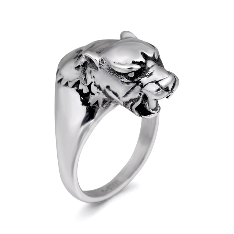 Chroonary Leopard kopf geformt mode-ring aus edelstahl in grau farbe sowohl für mann und frauen Schönheit und schmuck