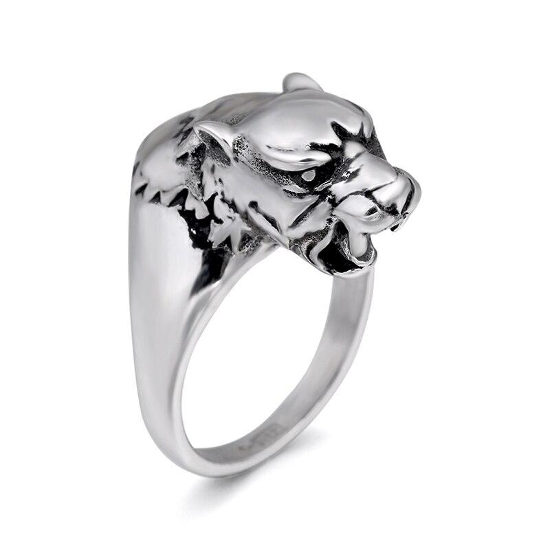 Chroonary cabeza de leopardo de moda en forma de anillo de acero inoxidable en color gris para hombre y mujeres de belleza y joyería