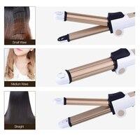 Kemei 3 In1 Multifunctional Foldable Hair Styler Curl Hair Straightener Ceramic Hair Curling Irons Corn Plate