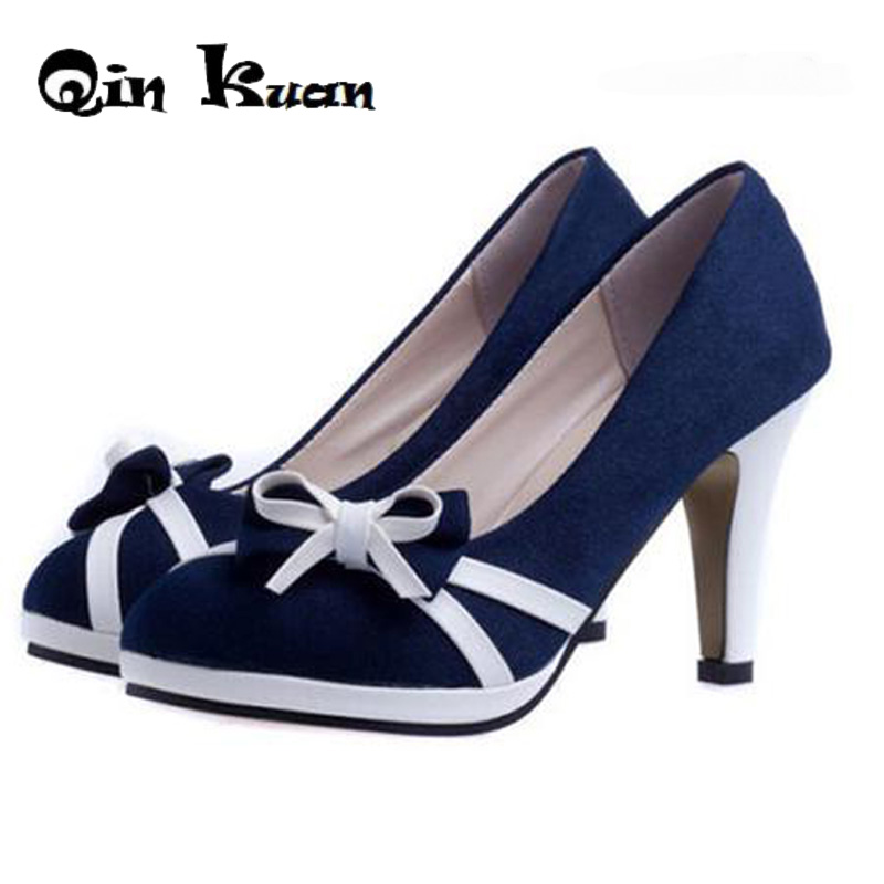 Qin Kuan Women High Heels Office Shoes Spring Women Pumps Bowtie Ladies Round Toe Stiletto Sweet European Girl Shoes Size 34-39