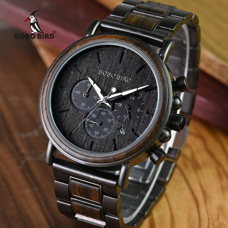 BOBO BIRD Luxury Wood Stainless Steel Men Watch Stylish Timepieces Wooden Chronograph Quartz Watches relogio masculino WQ26-1
