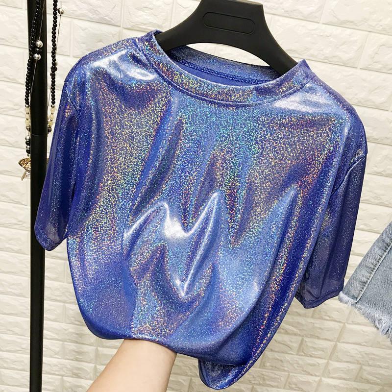Daddy Chen Glitter T Shirt Loose Femme Bling Tops for Women Short Sleeve O Neck Clubwear Fashion High Street Roupas Feminina 12