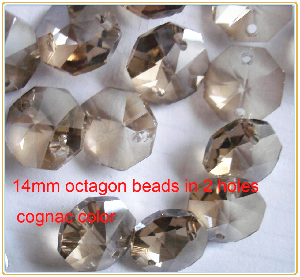 100pcs/lot Cognac 14mm 2 Holes Crystal Loose Beads Glass Octagon Beads Prism Chandelier Parts For Sale