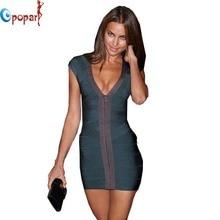 Women Dark Green V neck Front Zipper Celebrity HL Bandage Dress Bodycon Vestido Party Sexy Club Dress 2016 Drop Shipping HL1688