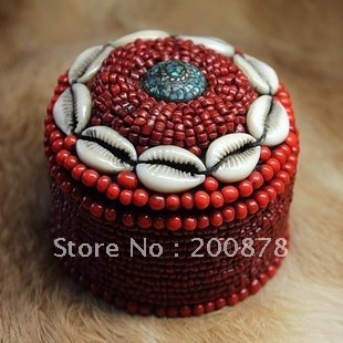 TJB953 Tibetan handmade shell coral beaded jewelry box75cmbig