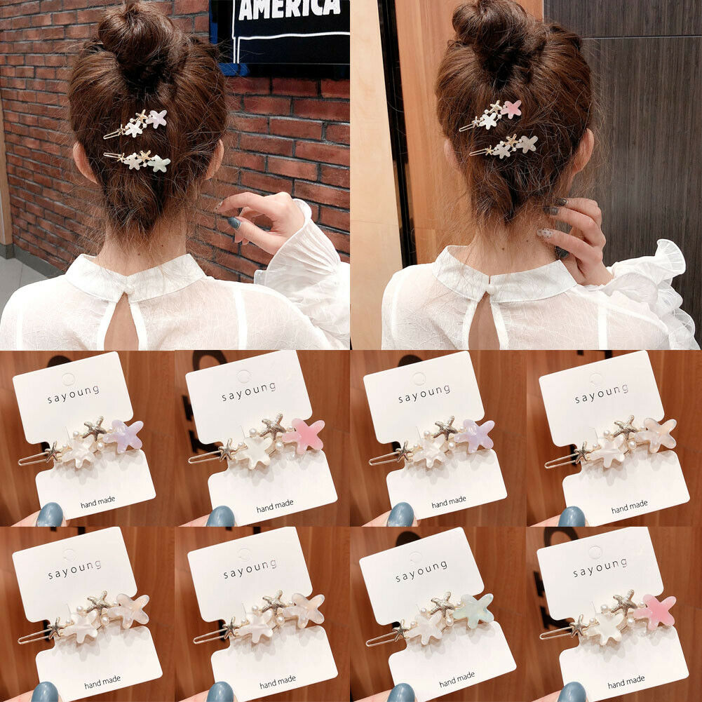 Women/'s Girls Pearl Hair Clips Snap Slide Barrettes Hairpin Hair Accessories