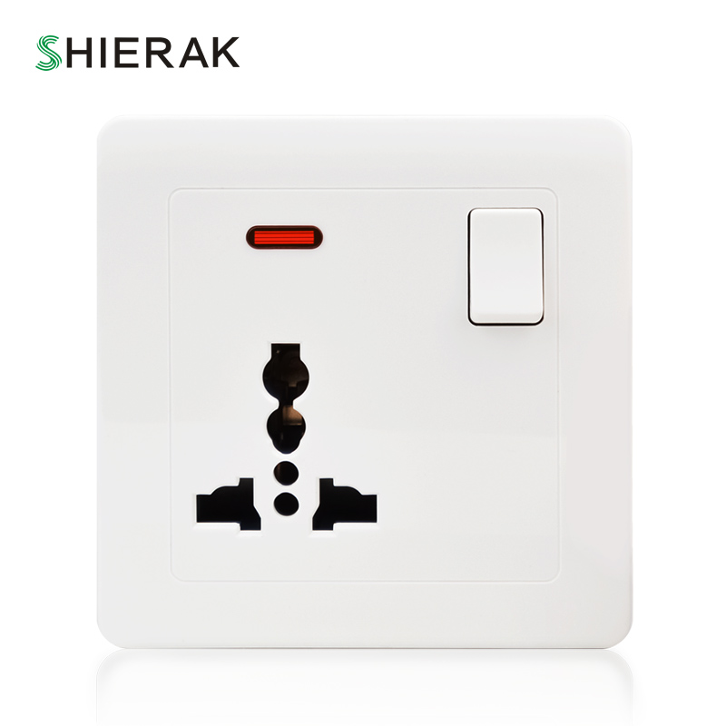 цена на SHIERAK Universal Wall Socket With LED Light Switch White PC Panel 13A 250V Universal Standard Power Socket Outlet