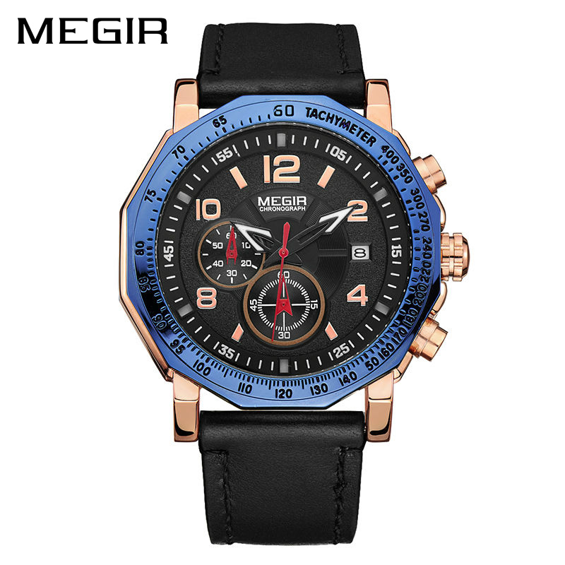 MEGIR Men Sport Watch Fashion Leather Strap Chronograph Quartz Military Watches Clock Men Relogio Masculino Horloges Mannen 2048 megir men s fashion casual chronograph sport watches men waterproof leather quartz watch man military clock relogio masculino