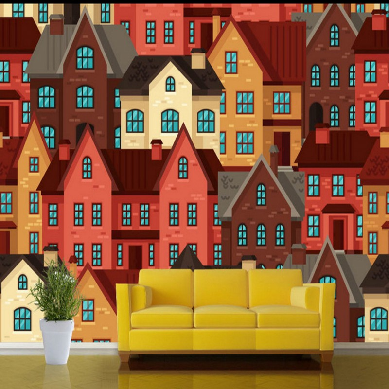 Free shipping Hand painted carton building beautiful color house mural TV background wall children room restaurant bar wallpaper free shipping hand painted art wallpaper billiards sexy wallpaper billiards club hall mural