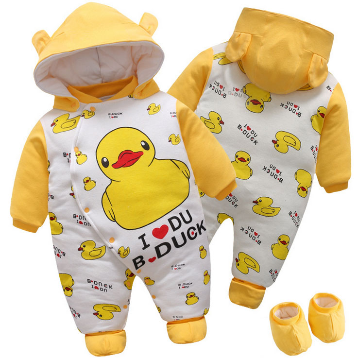 Newborn Baby girl boy Autumn winter toddler Bebes Rompers Jumpsuits Clothes Infant hooded dress lovely yellow duck bodysuit autumn winter baby rompers children clothing set newborn clothes bebes microfleece long sleeve girl clothing infant jumpsuits