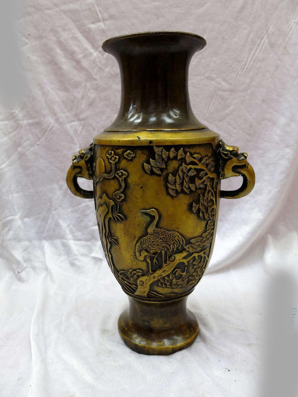 DS Brass Sculpture China Copper Feng Shui Longevity Pine Tree Crane Vase Statue