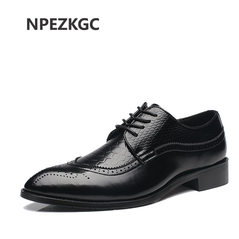 NPEZKGC Big Size 37-48 Oxfords Leather Men Shoes Fashion Casual Pointed Top Formal Business Male Wedding Dress Flats Wholesales