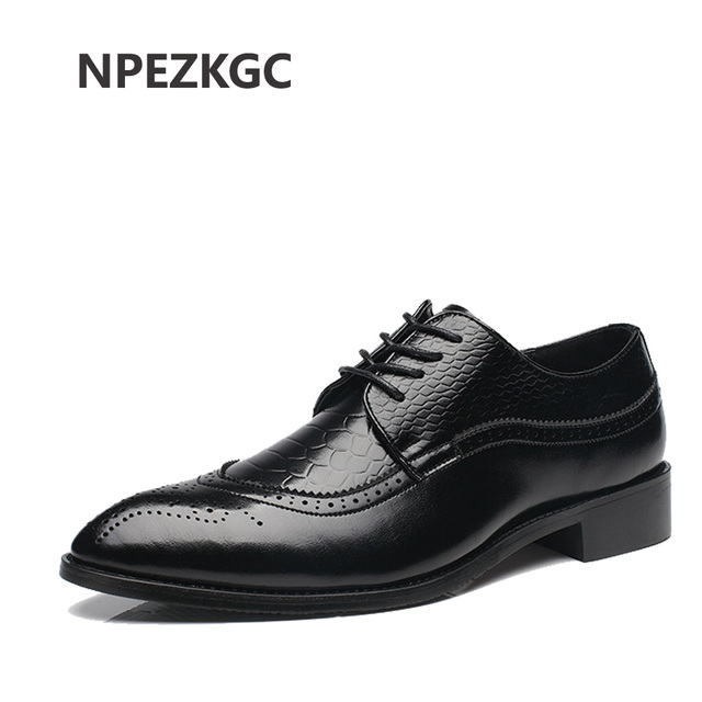 35ddb10a01b06a NPEZKGC Big Size 37-48 Oxfords Leather Men Shoes Fashion Casual Pointed Top  Formal Business Male Wedding Dress Flats Wholesales