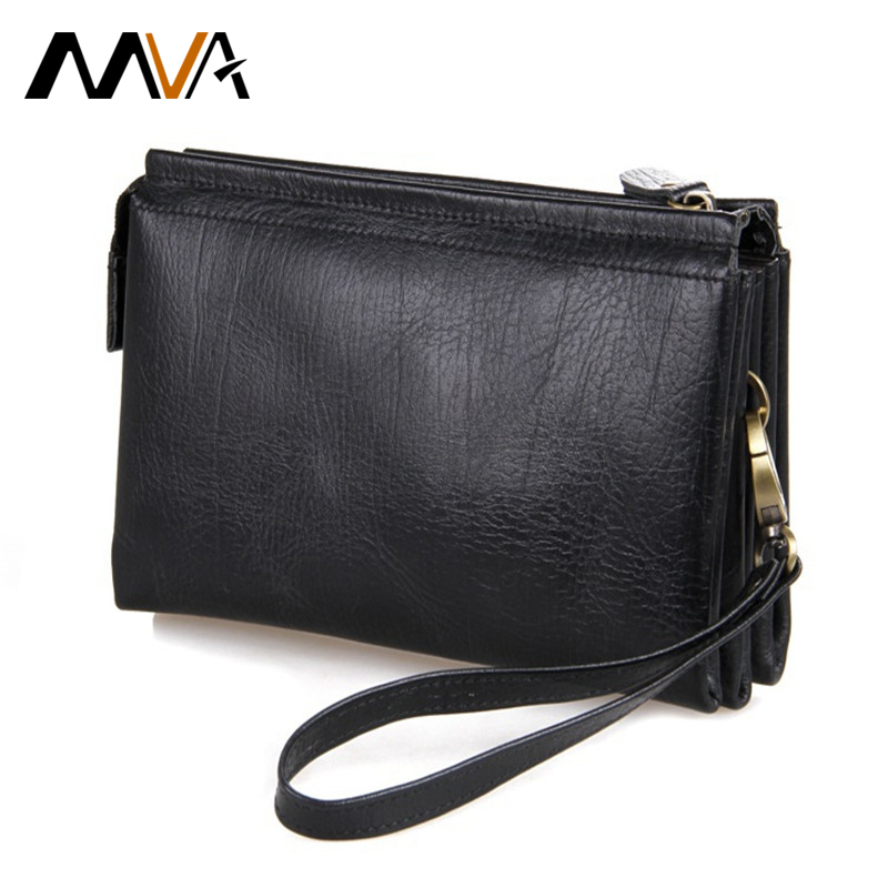 MVA Zipper Men's Wallet Long Genuine Leather Wallets Clutch Bag Leather Purse Wallet Money Phone Card Holder Purse Male Clutch men wallet male cowhide genuine leather purse money clutch card holder coin short crazy horse photo fashion 2017 male wallets