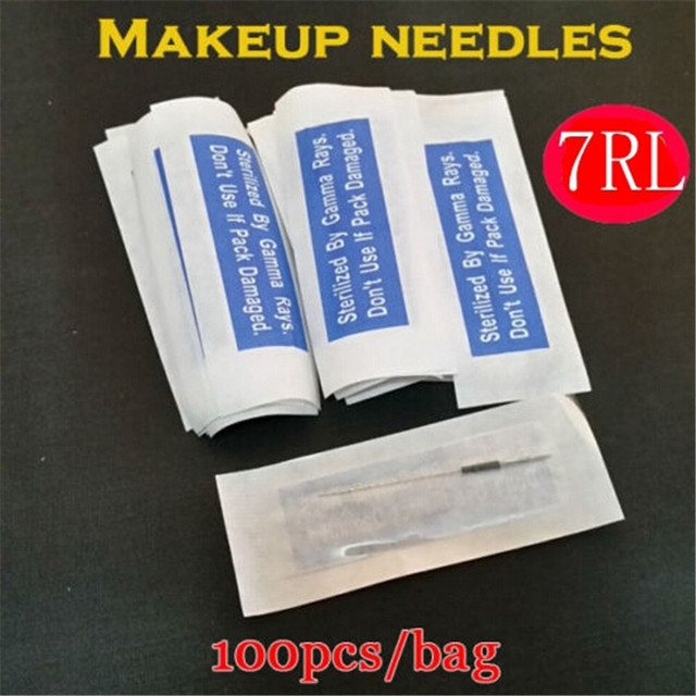 100PCS/Lot 7RL Permanent Makeup Needles 7RL Professional Sterilization For Eyebrow Lip Free Shipping