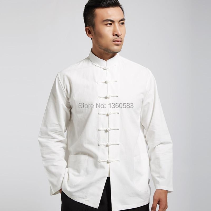 Белый классический китайский стиль 100% кунг-фу рубашка боевые искусства ушу топы sml XL XXL 3XL бесплатная доставка