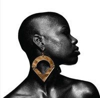 Not Infiniti Gold Mirror Acrylic Black Fashion Stud Earring