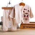 Белва 100% органический хлопок 0-6 М Детская Одежда установить Новорожденного унисекс мягкий Нижнее Белье Животных Печати Рубашка Брюки Хлопок одежда 2 шт. 518