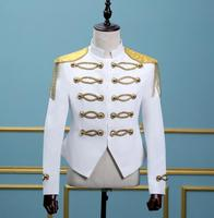 Men Suits Designs Royal White Gold Tassel Stage Costumes Singers Men Sequin Blazer Dance Clothes Jacket