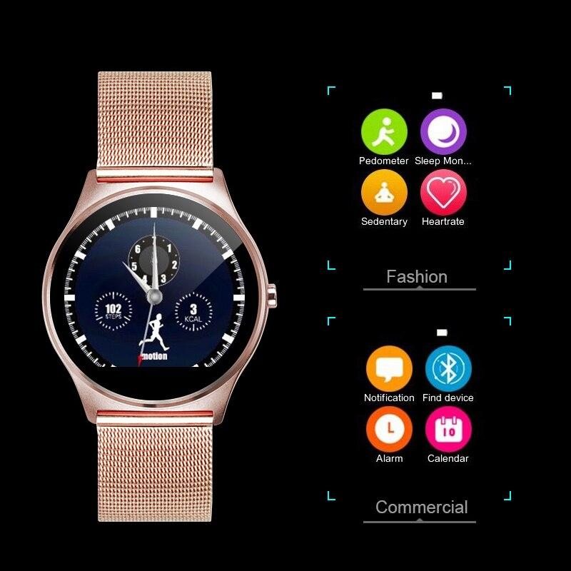 4f70a17b0eb03 FLOVEME K7 Bluetooth Inteligente Reloj Hombre Mujer Reloj Completa de Acero  Inoxidable Reloj de Pulsera Para iPhone IOS Samsung Android Smartwatch de Oro  en ...