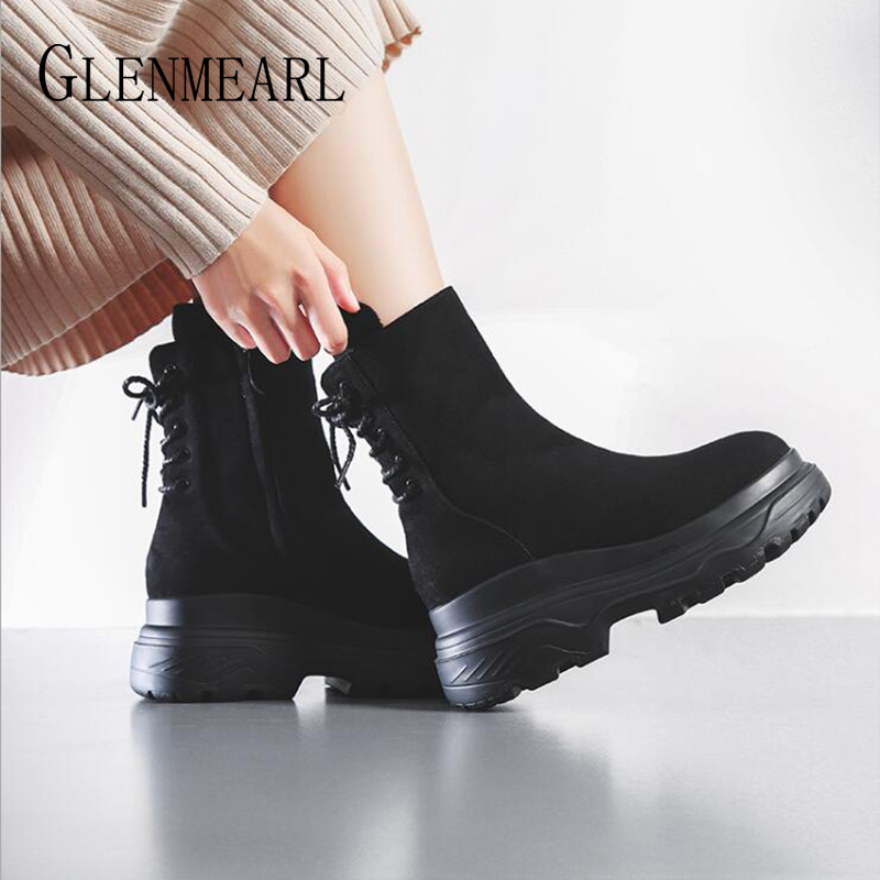 цены Genuine Leather Women Boots Flat Platform Black Martin Boots Winter Shoes Woman Lace Up Female Casual Shoes Ankle Boot Plus Size
