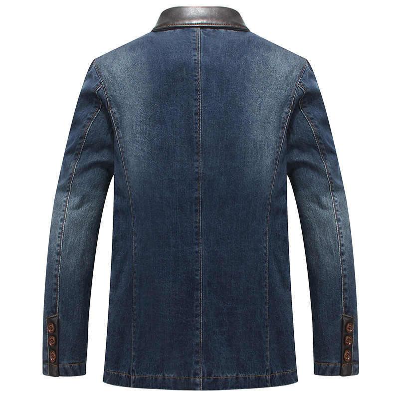 男性デニムスーツのジャケット綿 100% シングルブレストポケットブルーカジュアルストリート春秋オス生き抜くスリム男カウボーイブレザー