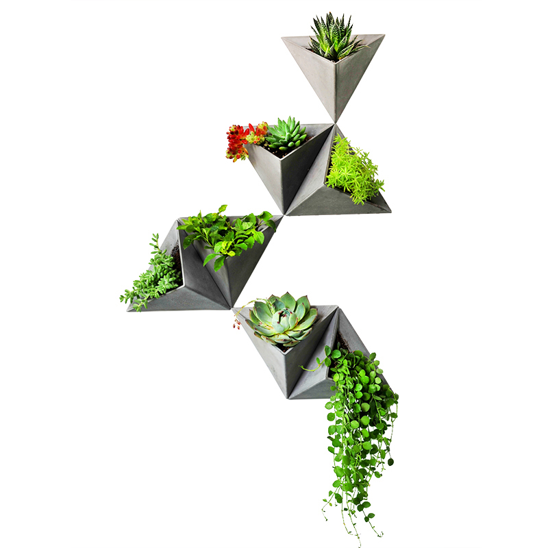 PRZY Triangle silicone molds Wall hanging type cement flowerpot mold silicone concrete pot molds for home decorations