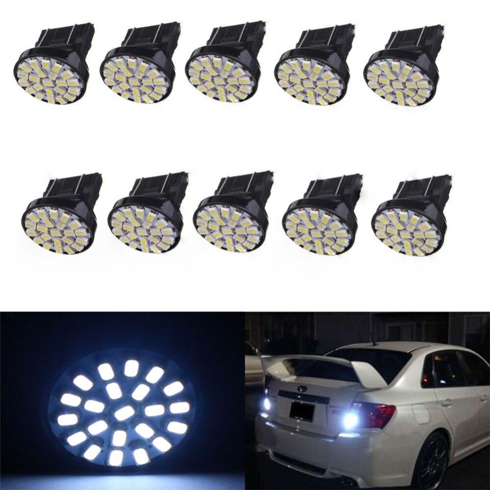 Juego de 10 bombillas LED para coche 22-SMD, luz de freno trasera 3157, 3057, 3457, 4157, 3047, T25, 1206, 22SMD, color blanco, 10 unidades