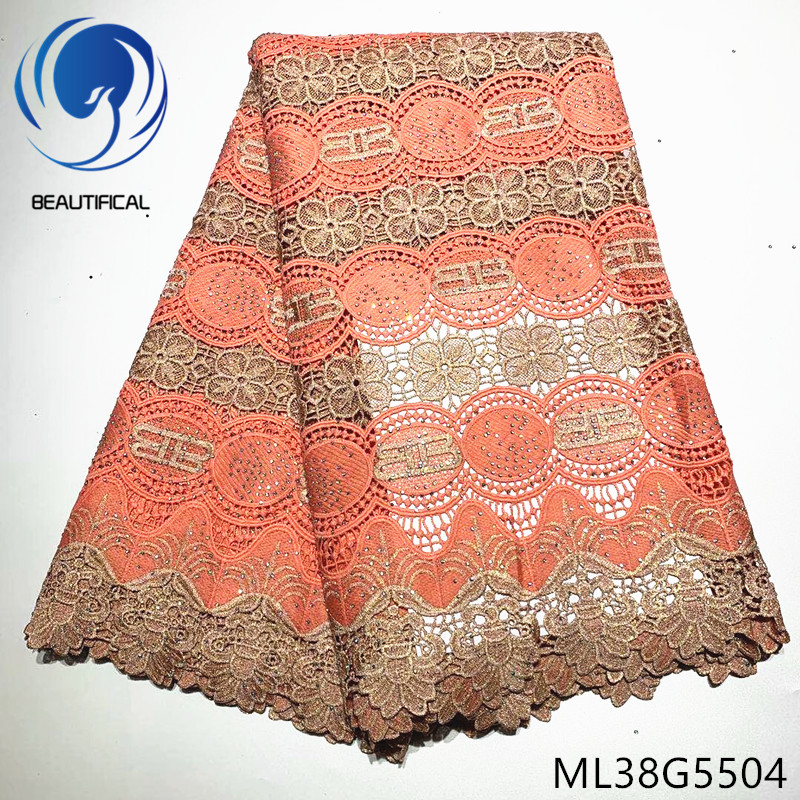 BEAUTIFICAL nigerian lace fabrics Hot sale water soluble lace fabric for wedding 5yards guipure cord lace with stones ML38G55BEAUTIFICAL nigerian lace fabrics Hot sale water soluble lace fabric for wedding 5yards guipure cord lace with stones ML38G55
