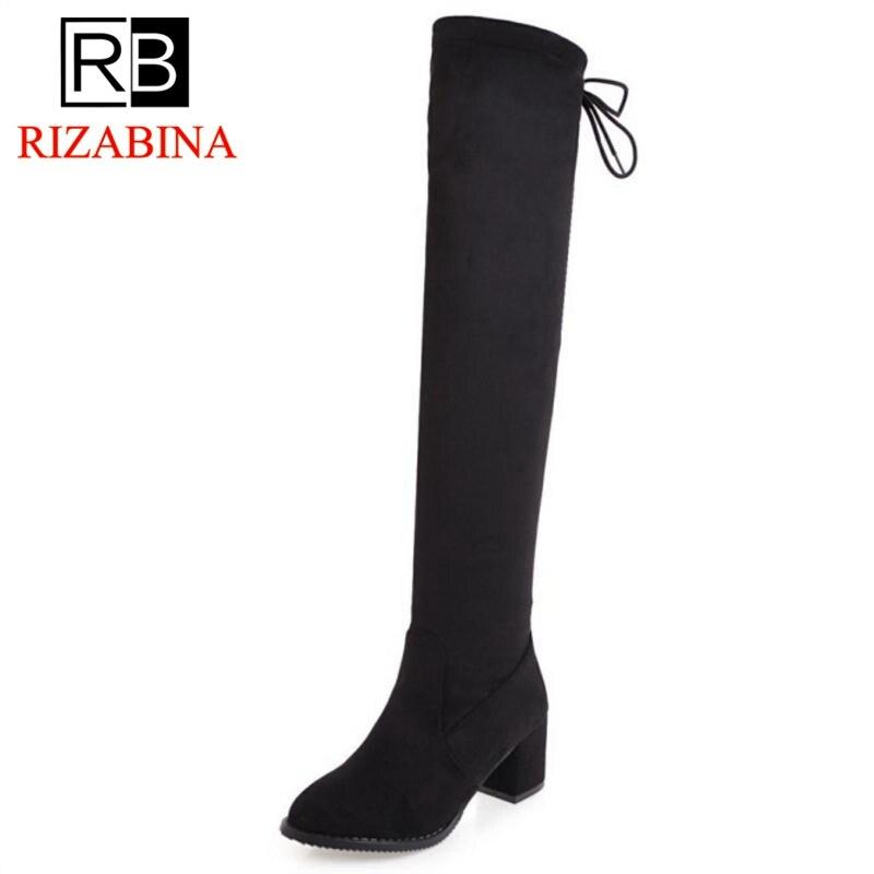 Classique Lacets Genou Rizabina Hauts Concise Chaussures À Talon Femme 34 Bottes Taille Épais Noir Talons Sur 43 r8xw8f64q7