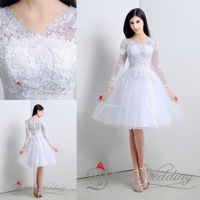 Lovely Long Sleeves Above Knee Tulle Appliques Lace Black and Ivory  Cocktail Dresses Formal Girl Party Homecoming Gown Dresses 3c8e9fb50