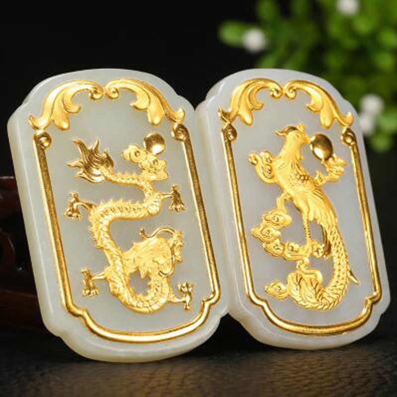 יו שין יואן בסדר תכשיטי 24 K זהב סט Hetian ירקן הדרקון פניקס תליון זוגות ללבוש