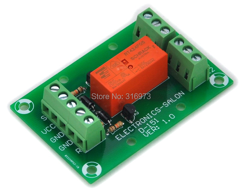 Bistable/Latching DPDT 8 Amp Power Relay Module, DC5V Coil, RT424F05
