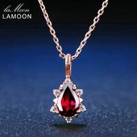 LAMOON 100% Doğal Armut Kırmızı Taşlar Garnet 925 Gümüş Takı Gül Altın Zincir Su Damlası Kolye Kolye S925 LMNI024