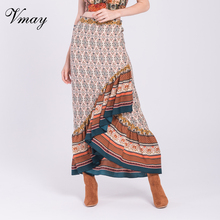 ФОТО vmay vintage bohemian trumpet long skirts new arrival autumn winter floral printed high waist maxi mermaid skirt female v1709066