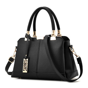 New Fashion PU Black Women Handbag Crossbody Messenger Tree Pendant Decoration Cusual Office Lady Shoulder Bag Tote