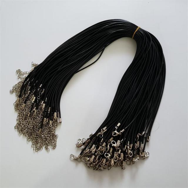 Оптовая продажа 100 шт./лот 2 мм черный воск кожаный шнур веревка ожерелья 45 см с застежкой Омаров шнурок кулон шнуры для diy ювелирных изделий